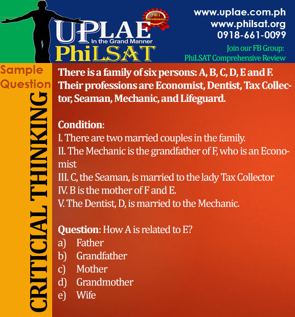 Sample PhiLSAT Question