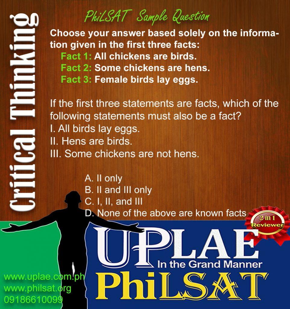 PhiLSAT Sample Question